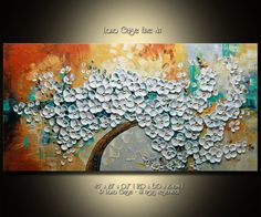 """Original Abstract Heavy Textured Palette Knife Painting by Lana Guise. Gallery Canvas Ready to Hang  Artwork description: TITLE: Amber Skies SIZE: 48 x 24 x 0,7"""" (120 x 60 x 2 cm )  This is a ONE-OF-A-KIND Original Painting. Painted on Gallery back wrapped stretched canvas, painted black edges, ready to hang. COLORS: white, brown, aqua blue, grey.  SIGNED: Yes, it is signed and dated on the front and back by the artist. A Certificate of Authenticity will be included with the painting…"""