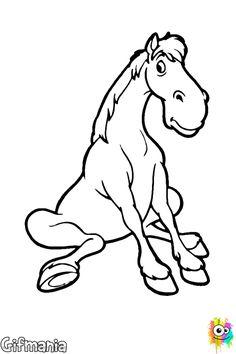 Caballo SentadoEn este dibujo para colorear de un caballo  podemos ver a este simpático animal sentado en el suelo, con una expresión muy amigable, pero le falta color.