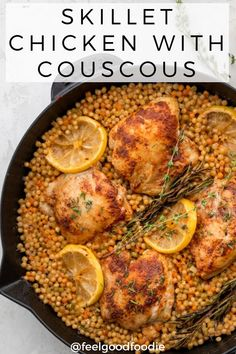 This Skillet Chicken With Couscous Is An Easy Dinner Recipe For Any Night Of The Week. It's Full Of Great Flavor, Very Filling, And All Made In One Skillet Dinner Ideas One Skillet Easy Meals Chicken Recipes Via Easy Chicken Recipes, Easy Dinner Recipes, Dinner Ideas, Easy Weeknight Meals, Easy Meals, Healthy Dinners, Skillet Dinners, Skillet Chicken, Mediterranean Recipes