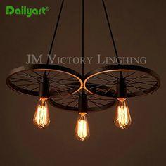 Pas cher Pays d'amérique style Creative rétro pendentif en fer forgé lampes loft…