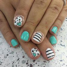 Mint nails, with hearts and polka dots