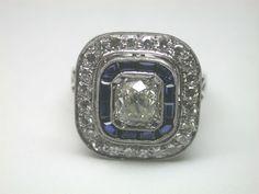 Antique Cushion Diamond Engagement Solitaire Ring Platinum Vintage Art Deco FINE #Engagement