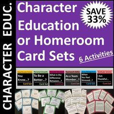 Homeroom or character education card sets enable students to brainstorm ways to grow and improve. Use as group activities, writing prompts, warm-ups, icebreakers, or conversation starters. Each of 6 sets contains 40 questions (240 total questions) plus blank templates for additional student- or teacher-generated questions. Can complete orally, on paper, or on a digital device. Icebreaker Activities, Group Activities, Icebreakers, Character Education Lessons, Teamwork Skills, Feeling Thankful, Career Exploration, Career Counseling, Conversation Starters