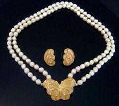 Kenneth Jay Lane  (KJL) for Avon Papillion Necklace & Earrings