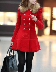 $18.07 Ladylike Fur Embellished Polo Callor Double-breasted Waisted Long Sleeves Slimming Coat