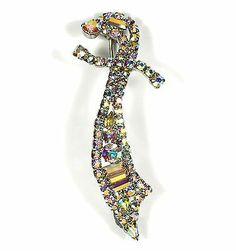 Vintage Sword Brooch AB Rhinestone and Silver Tone Large Pin Saber or Scimitar