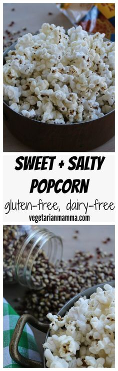 Sweet and Salty Popcorn @vegetarianmamma.com #glutenfree #nutfree #dairyfree #snack #snacking #sweet #salty #popcorn