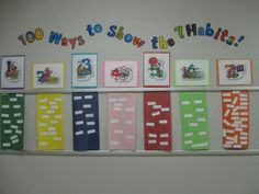 100 ways to show the 7 Habits...maybe next 100th day!  Not enough time for tomorrow. 7 Habits Activities, Follow The Leader, Leader In Me, Habit 1, Hallway Displays, 100 Days Of School, Beginning Of The School Year, School Stuff, Habits Of Mind