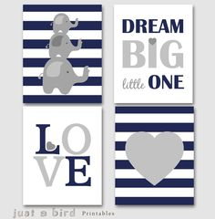 Dream big little one, Set of 4 prints, Elephant wall art, navy blue grey nursery decor, baby boy nursery printable -INSTANT DOWNLOAD by Justabirdprintables on Etsy https://www.etsy.com/listing/189295098/dream-big-little-one-set-of-4-prints