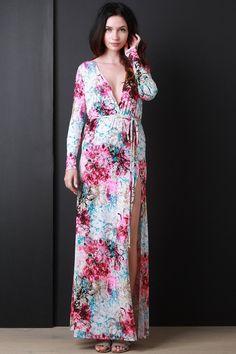 Splattered Floral Belted Maxi Dress