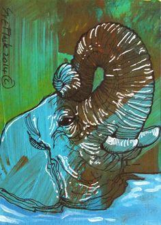 Elephant's Head - Sue Flask ACEO 2014 New Original Acrylics Painting Miniature #ACEOartcards