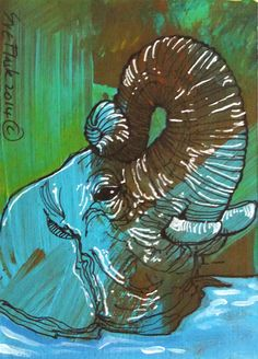 Elephant's Head - Sue Flask ACEO 2014 New Original Acrylics Painting Miniature #ACEOartcards