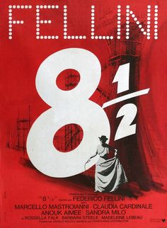 """Original RE-RELEASE French film poster for the 1963 Federico Fellini classic """"8 1/2"""""""