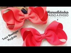 Diy - Laço Boutique Perfeito - Pap Make to hair bow Girls Bows, Headband Hairstyles, Wavy Hair, Fabric Flowers, Hair Bows, Headbands, Diy Crafts, Youtube, Accessories