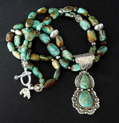 Two-Stone Royston Turquoise and Sterling Pendant with Nevada Turquoise, Quartz, Amber & Sterling @ Southwest Designs