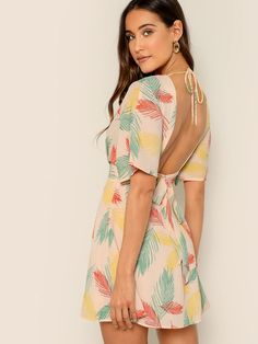 Boho Plunge Neck Tied Open Back Tropical Dress Tropical Dress, Short Dresses, Summer Dresses, Casual Dresses, Belted Dress, Satin Dresses, Dresses For Sale, Types Of Sleeves, Ideias Fashion