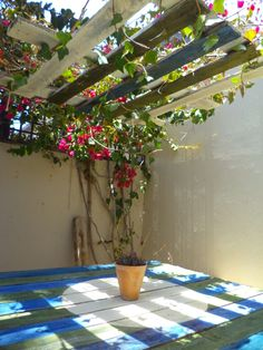 pallets garden ideas pallet table with suspended pallet to make shade