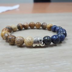 FREE SHIPPING Elephant bracelet8 mm copper blue by AbourShop