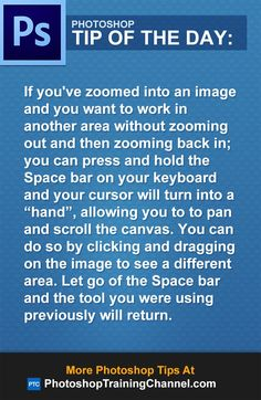 If you've zoomed into an image and you want to work in another area without zooming out and then zooming back in