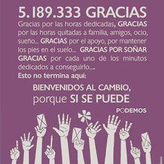 A todos y todas lxs que confiaron en #Podemos #5189333DeGracias