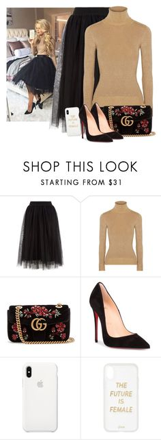 """Delilah"" by itsatra ❤ liked on Polyvore featuring JoosTricot, Gucci, Christian Louboutin, Apple, Sonix, set, party, newyear, 2018 and ItsAtra"