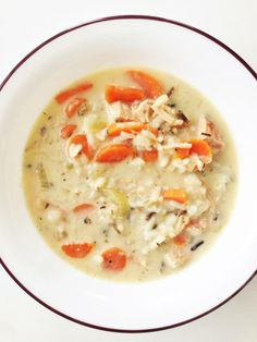 Skinny Turkey & Wild Rice Soup via The Skinny Fork ***SHARE SHARE SHARE***  Servings: 6 • Size: About 1 1/2 Cups of Soup • Calories: 217.4 • Fat: 1.3 g • Carb: 24.4 g • Fiber: 2.7 g • Protein: 25.6 g • Sugar: 4.7 g • Sodium: 717.8 mg