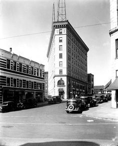 Flat Iron Building and Miles Building in downtown Asheville, early 20th Century. From the E W Ball photographic collection at UNCA Library Special Collections.