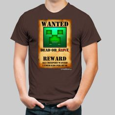 Creeper Wanted Poster: Green - creepgear - Kool Minecraft Gear Created By Kids Minecraft Art, Creepers, Green, Mens Tops, Poster, Kids, Shirts, Climbing Vines, Children