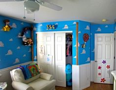 "Pixar Themed Nursery, For our first baby, we wanted to touch on everything Pixar. While the room screams Toy Story, we actually referenced all of the movies and some Pixar shorts., This image captures another one of our favorite Pixar references in the room; The birds from ""For The Birds.""  , Nurseries Design"