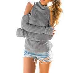 HEYFAIR Women's Sexy Turtleneck Off Shoulder Knitted Pullover Sweater Jumper (gray) -- Awesome products selected by Anna Churchill