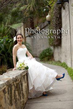Classic Wedding Photography, Bella Springs Event Center, San Antonio, TX, Boerne, TX, www.photographybysamantha.com, bridal portriats, San Antonio River Walk, blue shoes Photography Ideas, Wedding Photography, Samantha Wedding, River Walk, Blue Shoes, San Antonio, One Shoulder Wedding Dress, Weddings, Bridal