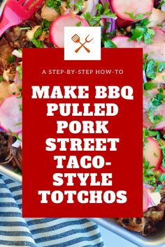 Step by step how to make bbq pulled pork street taco style totchos Healthy Taco Recipes, Healthy Snacks To Make, Healthy Tacos, Shredded Pork Recipes, Pulled Pork Recipes, Totchos Recipe, Loaded Tater Tots, How To Make Bbq, Taco Stand