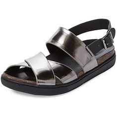 ATELJE 71 Adele Women's Dark Silver Leather Sandals $195 Size 6.5 #ATELJE71 #Slingbacks