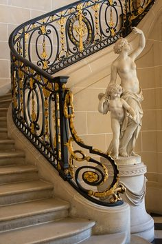 Museé Nissim de Camondo, Paris ornate wrought iron with gold leaf railing blending Italian and French styles Wrought Iron Staircase, Grand Staircase, Stair Railing, Staircase Design, Railings, Banisters, Luxury Staircase, Railing Ideas, Art And Architecture