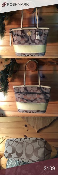 """Coach F19468 Signature Stripe Tote Handbag Coach Signature Stripe Tote F19468  * Signature Fabric with fabric patent trim * Zip top closure  * Fabric lining * Inside zip pocket, cellphone and multifunction pockets  * Color: SV/Light Khaki/Yellow  * 9-3/4"""" (L) x 9-3/4"""" (H) x 3-1/2"""" (H) * 8-1/2"""" strap drop * GUC, Stains around the zipper, see pictures  * This beautiful bag is ready to be Posh loved by a PFF 🛍🤗 Coach Bags Totes"""
