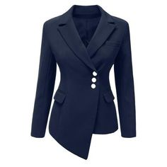 Navy Asymmetrical Side Buttons Blazer Lookbook Store (53 CAD) ❤ liked on Polyvore featuring outerwear, jackets, blazers, side button jacket, blazer jacket, navy blue blazer, blue jackets and asymmetrical jacket