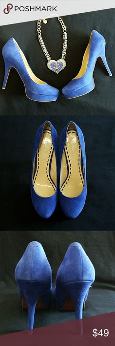"""Enzo Angiolini Blue Suede Pumps. Enzo Angiolini Blue Suede Pumps. Gorgeous color, sure to jazz up any outfit. Surprisingly comfortable for high heels. Worn only once for a couple of hours. Excellent used condition but please note inside scuffs in last picture. Size 9""""1/2. Heel 5"""" Platform 1"""". Feel free to ask any questions before purchase. Bundle & Save. Offers welcome. Enzo Angiolini Shoes"""