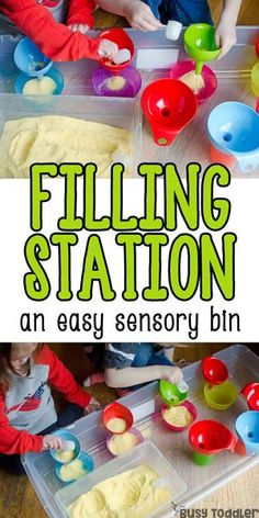 Filling Station – Easy Sensory Bin; What a great indoor activity for toddlers; a quick and easy toddler activity