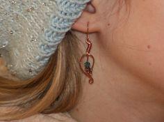 Copper Leaves Earrings to match the Shawl Pin by Everyday Peacocks-- Smokey Quartz, Verdite, and Aqua Swarovski Crystals