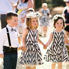 Check out wedding pinata! Best of Unique Wedding Ideas. Ring bearer suspenders flower girls with flower crowns black and white wedding party Flower Girls, Cute Flower Girl Dresses, Flower Children, Flower Crowns, Girls Dresses, Bridesmaid Flowers, Bridesmaid Dresses, Wedding Dresses, Wedding Attire