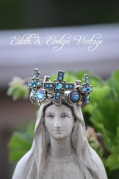Brass Crown with Rhinestones Statue Crown Santos by edithandevelyn, $45.00