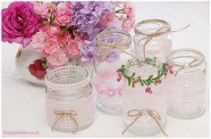 9 Windlichter/Vasen als Hochzeitsdeko im Vintage-Stil