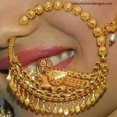 Beautiful Bridal Stylish Nose Ring with Long Chain Style - Fashion Beauty Mehndi Jewellery Blouse Design