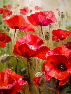 Paint By Number Kit Red Poppies Flowers 2 Adults Kids Creative Hobby Canvas Brush Handmade Wall Art Home Decor DIY Gift Craft Idea Art Floral, Abstract Flowers, Watercolor Flowers, Watercolor Paintings, Poppies Painting, Roses Painting Acrylic, Poppy Flower Painting, Acrylic Colors, Red Poppies
