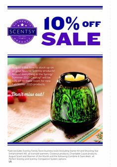 AUGUST SCENTSY SALE ~ Nearly everything 10% off ORDER ONLINE ~ SHIPS DIRECT !!!! https://spollreisz.scentsy.us