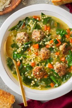 The BEST Italian Wedding Soup I've tried! Made with easy homemade meatballs (that are browned before adding to the soup), then lots of veggies, broth, herbs and itty bitty pasta. The perfect comforting soup recipe! Beef And Pork Meatballs, Making Meatballs, Turkey Meatball Soup, Italian Meatball Soup, Vegan Meatballs, Italian Soup, Italian Cooking, Italian Pasta, Vegetarian Italian