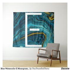Blue Watercolor E Monogram Tapestry Marble Tapestry, Christmas Card Holders, Bed Spreads, Vivid Colors, Picnic Blanket, Monogram, Watercolor, Artwork, Prints