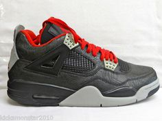 4674cc5c93b9c9 Nike Air Jordan IV 4 Retro Laser Rare Air Black Grey Men Sz 10