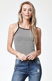Stripe Cropped Cami Tank Top