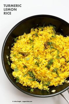 Golden Rice with turmeric lemon and mustard seeds. Use cooked brown rice quinoa millet or couscous or cauliflower rice for variation. Indian Foods, Indian Food Recipes, Real Food Recipes, Cooking Recipes, Ethnic Recipes, Vegetarian Rice Recipes, Golden Rice, Lemon Rice, Coconut Curry Chicken